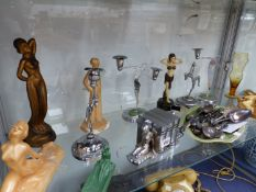 VARIOUS ART DECO CANDLE STANDS AND ORNAMENTS.
