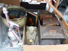 AN ART NOUVEAU HALL MIRROR WITH GLOVE BOX, A BOOK TYPE BOX, A CARVED WOOD BOX, A VINTAGE JUICER, A