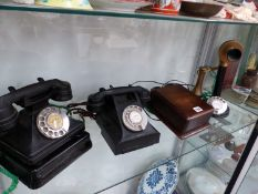 TWO VINTAGE BAKELITE TELEPHONES AND A CANDLESTICK TELEPHONE.