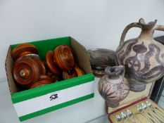 A SET OF NINE VICTORIAN DRAWER HANDLES AND THREE PIECES OF GREEK POTTERY.