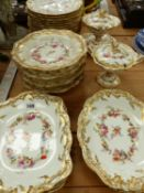 A VICTORIAN HAND PAINTED PART DINNER SERVICE.
