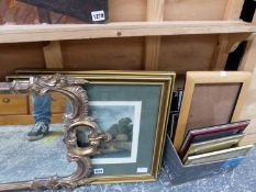TWO HAND COLOURED PRINTS OF RURAL SCENES TOGETHER WITH A DECORATIVE GILT MIRROR AND VARIOUS SMALL