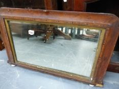 A VICTORIAN OVER MANTLE MIRROR.