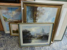 A GROUP OF FIVE 20th.C. CONTINENTAL OIL LANDSCAPE PAINTINGS BY DIFFERENT HANDS, SIGNED INDISTINCTLY.