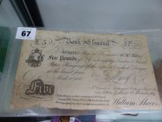 A WILLIAM SHIERS WHITE £5 NOTE. NUMBER 3333.