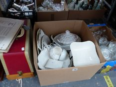 A QUANTITY OF ANTIQUE WEDGWOOD AND OTHER WHITE DINNER WARES TOGETHER WITH TWO SEWING MACHINES TO