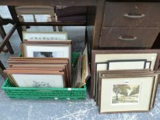 A GROUP OF ANTIQUE AND LATER PRINTS OF RURAL SUBJECTS AND FURTHER DECORATIVE PICTURES ( QTY)