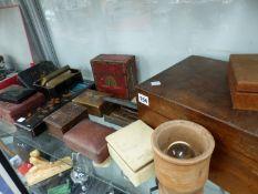A VINTAGE TAROT DECK AND BOOKS, VARIOUS TRINKET BOXES ETC.