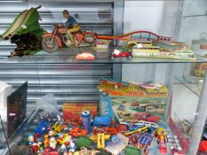 A GERMAN TIN PLATE MOTORCYCLE TOY, A GERMAN TIN PLATE CLOCKWORK BELLEVUE TOY,BOXED MATCHBOX E-2