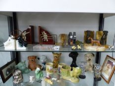 A COLLECTION OF ART DECO AND ART DECO STYLE ANIMAL ORNAMENTS TO INCLUDE TERRIER BOOK ENDS, CHOCOLATE