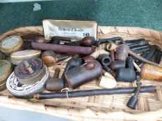 A COLLECTION OF TOBACCO PIPES AND TOBACCO TINS ETC.