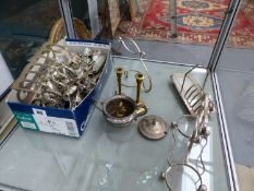 A QUANTITY OF VARIOUS SILVER PLATED CUTLERY ETC.