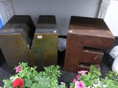 A PAIR OF INTERESTING ARTISTS MADE CUBE LETTERS M E.