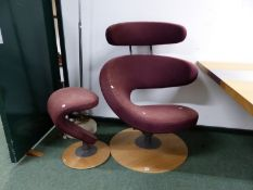 A MODERNIST DESIGN MAUVE UPHOLSTERED SWIVEL CHAIR AND STOOL EN SUITE