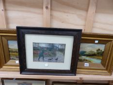 A PAIR OF EARLY 20TH CENTURY RIVELANDSCAPES. OIL ON BOARD TOGETHER WITH A PICTURE OF A HUNTER