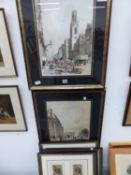 AFTER THOMAS SHORTER BOYS. FOUR ANTIQUE COLOUR LITHOGRAPHS OF LONDON STREET SCENES 43 x 32cms