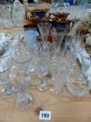A SMALL COLLECTION OF 19TH C. DRINKING GLASSES, LUSTRE WARE POTTERY, CUPS AND JUGS.