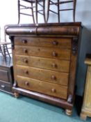 A MAHOGANY CHEST OF SIX GRADED DRAWERS