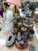 A VINTAGE PEWTER QUART MOULD, COPPER KETTLE, PANS, OTHER PEWTER SWEET MOULDS, A SPELTER FIGURE,