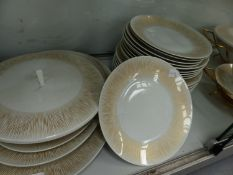 A RARE ROSENTHAL 1955 GOLD RAYS PART DINNER SERVICE DESIGNED BY RAYMOND LOEWY AND RICHARD LATHAM.