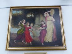T MARSDEN. DANCING CLASSICAL FIGURES- DECORATIVE OIL ON CANVAS SIGNED 81 X 102CM