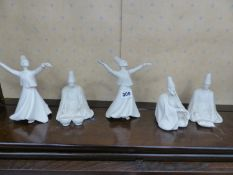 A GROUP OF FIVE DECORATIVE TURKISH FIGURES.