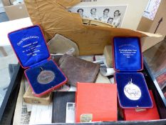 A BRONZE AND A HALLMARKED SILVER SHIRE HORSE SOCIETY MEDAL, VARIOUS EPHEMRA RELATING TO BOXING, ETC.