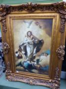A SIGNED DECORATIVE OIL ON CANVAS MARY AND THE ANGELS IN SWEPT GILT FRAME 91 X 62 CM