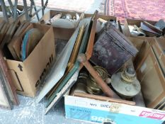 A QUANTITY OF ASSORTED TO INCLUDE, PRINTS AND PICTURES, VINTAGE BRASS OIL LAMPS, A DEED BOX,