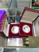 MINIATURE VINTAGE POSTAGE SCALES, TWO SILVER PROOF MEDALLIONS, VARIOUS CHURCHILL AND JUBILEE