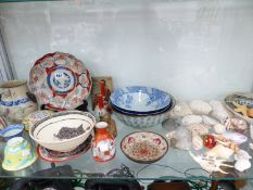 JAPANESE AND OTHER ORIENTAL VASES, CUPS, BOWLS ETC TOGETHER WITH A SMALL COLLECTION OF SEASHELLS.