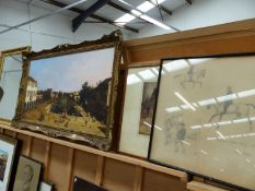 A GILT FRAMED PICTURE OF AN ITALIAN PORT SCENE 59 x 110cms TOGETHER WITH TWO HORSE PICTURES AND A MI