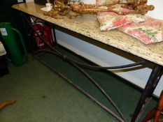 A GRANITE TOPPED TUBULAR IRON CONSOLE TABLE. W 195 x D 64 x H 90cms.