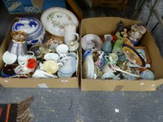A QUANTITY OF MISC. ASSORTED ORNAMENTAL CHINA WARES TO INCLUDE BLUE AND WHITE ORIENTAL STYLE