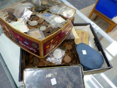 A LARGE COLLECTION OF ANTIQUE AND LATER GB COPPER COINS AND OTHERS.