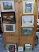 A QUANITY OF FURNISHING PICTURES TO INCLUDE WATERCOLOURS, PRINTS, MAPS ETC. ( QTY)