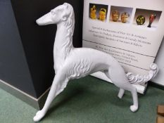 A WHITE PAINTED SHOP DISPLAY SALUKI. H 103cms.