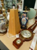 A MAHOGANY CASED WALL BAROMETER, TOGETHER WITH VARIOUS TABLE LAMPS.