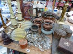A PAIR OF SHELL FORM ART DECO WALL LIGHTS, TWO VINTAGE BALANCES, COPPER PLANTERS, TWO SMALL BASKET
