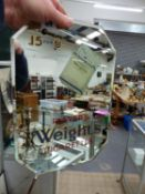A RARE VINTAGE PLAYERS WEIGHTS CIGARETTES ADVERTISING MIRROR.