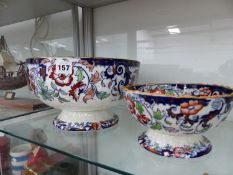 TWO VICTORIAN IRONSTONE BOWLS.
