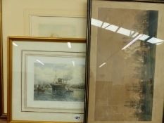 THREE ANTIQUE AND LATER HAND COLOURED MARINE PRINTS, SIZES VARY.