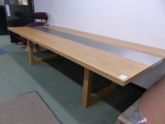 A CONTEMPORARY OAK AND STEEL TOPPED REFECTORY TABLE. W 300 x D 124 x H 75cms.