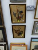VARIOUS ANTIQUES AND LATER ORNITHOLOGICAL PRINTS INCLUDING A PAIR OF EMBOSSED TROMPE L'OEIL