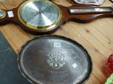 A HUGH WALLIS PEWTER INLAID COPPER TRAY, A MAHOGANY CASED WALL BAROMETER, AND A PAIR OF HARD WOOD