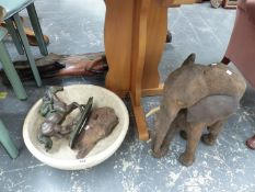 A LARGE CARVED AFRICAN ELEPHANT FIGURE, A FIGURE OF A JOCKEY, A MODERN CERAMIC AND TWO TALL