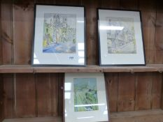 MID 20TH CENTURY ENGLISH SCHOOL TWO INDISTINCTLY SIGNED WATERCOLOURS OF VILLAGE STREET SCENES T/W