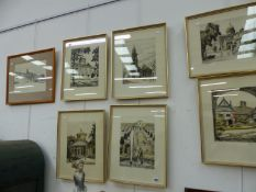 SIX 20TH CENTURY PENCIL SIGNED ETCHINGS OF CONTINENTAL ARCHITECTURAL SCENES AND A FURTHER