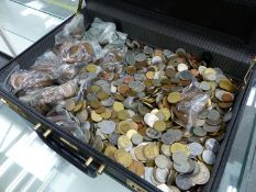 A LARGE COLLECTION OF 20TH C. GB COINS TOGETHER WITH CONTINENTAL COINS ETC.