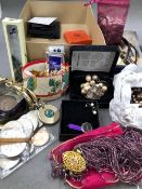 A COLLECTION OF COSTUME JEWELLERY, COINS, AND VINTAGE HAIR SLIDES. ETC.